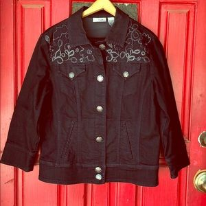 Chicos Platinum Beaded Embroidery Jean Jacket